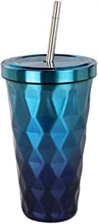 Togethor Gradient Stainless Steel Tumbler with Lids and Straws Double Wall Vacuum Insulation Steel Hydro Thermos Office Mug Diamond 500ml Drinking Tumblers Eco-Friendly
