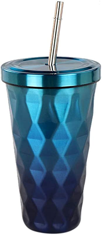 Togethor Gradient Stainless Steel Tumbler With Lids And Straws Double Wall Vacuum Insulation Steel Hydro Thermos Office Mug Diamond 500ml Drinking Tumblers Eco Friendly