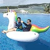 qwert Juguete Inflable Unicorn Pool,Grueso Piscina Infantil Natación Flotadores,Divertidas Tumbonas De Piscina De Verano,Centro Inflable De Juegos Acuáticos con Bomba De Aire,P 270x140x120cm