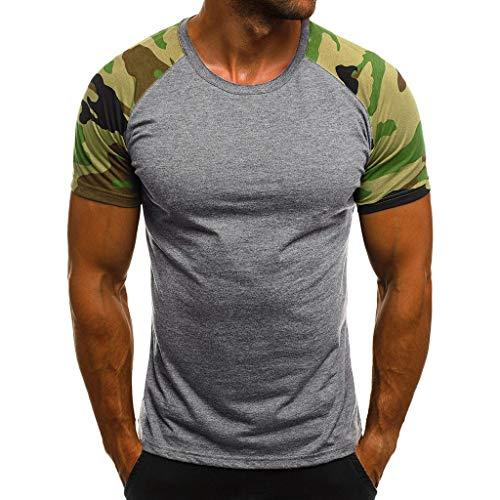Camiseta de Camuflaje Hombre Militares Camisetas Deporte Ropa Deportiva Camisa de Manga Corta de Camuflaje Slim fit Casual para Hombres Tops Blusa ZODOF