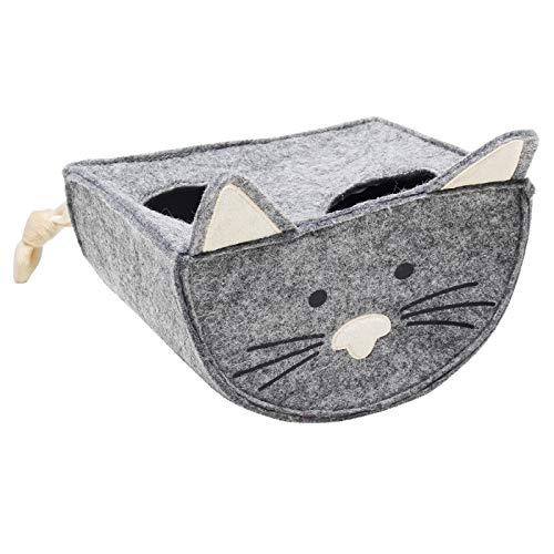Tiger Cat Wippe Winni 16,5 x 13 x 13cm Ball Leoprint Katzenspielzeug Grau Katzenohren Filz Intelligenzspielzeug