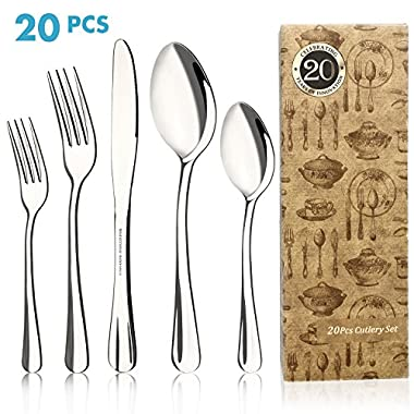 Silverware Set, Elegant Life 20-Piece Flatware Set, Stainless Steel Cutlery Set, Mirror Polishing Tableware Set Utensil Set, Knives, Forks, Spoons for Home and Restaurant, Service for 4