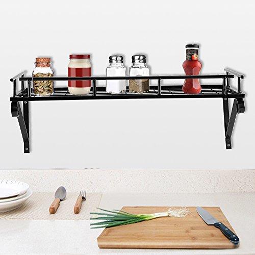 GOTOTOP Multifunktionale Küche Rack Wandregal Metall mit 10 Haken, Wandhängende Badregal Bücherregal