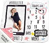 "MeBlanky Baby Monthly Milestone Blanket – 3x Fluffier Newborn Monthly Milestone Blanket – 47""x47"" Super Soft Fleece Milestone Blanket – First Year Baby Blanket – Baby Photo Blanket for Boys or Girls"