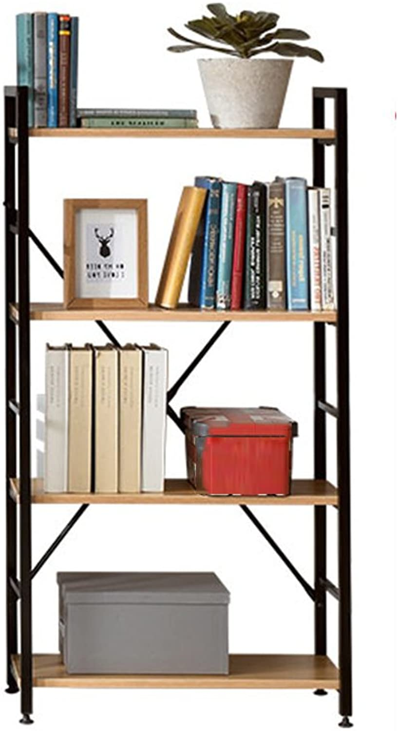 QIANGDA Bookshelf Composite Layer Iron Display Stand Particle Board Bookcase Finishing Rack Commodity Shelf, 3 Tiers 4 Tiers 5 Tiers, (color   Black, Size   600 x 280 x 1165mm)