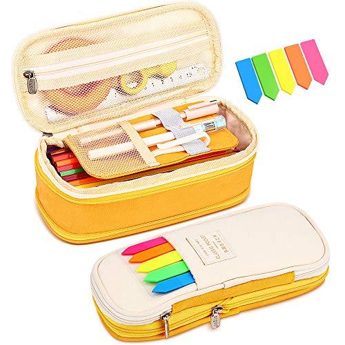 Senignol Pencil Pen Case Big Capacity Pencil Pouch Pen Bag Holder Box Organizer with Double Zipper for Teen Adult School Office (Foldable Yellow)