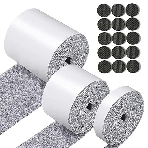 Yesloo Fieltro adhesivo, Fieltro adhesivo muebles, Almohadillas de fieltro, Almohadilla autoadhesiva para muebles, protectores de suelos (gris)