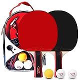 Lixada Tenis de Mesa Juego de 2 Jugadores 2 Raquetas de Palos de Tenis de Mesa y 3 Pelotas de Ping Pong con Funda (Modelo 2—con Maleta)