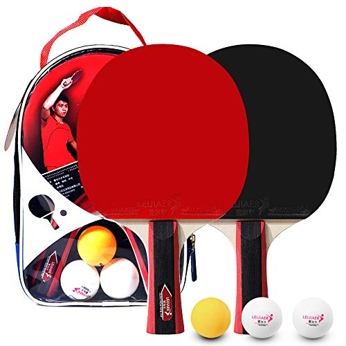 Lixada Tennis de Table pour 2 Joueurs Ensemble de Raquettes de Tennis de Table Raquettes avec 3 Balles de Ping-Pong Set de Tennis de Table Raquettes de Tennis de Table pour Étudiants Débutants