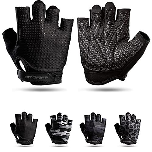 Fitgriff Guantes de Gimnasio V3 - Hombre y Mujer - para Gym, Fitness, Deporte, Entrenamiento, Powerlifting, Levantamiento de Pesas - Antideslizante - Workout Gloves (Full Black, Size 10)