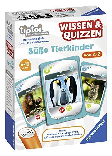 """Ravensburger tiptoi 00767 - Wissen & Quizzen """"Süße Tierkinder"""" / Spiel von Ravensburger ab 6 Jahren / Wertvolles Wissen über süße Tierkinder von A bis Z"""
