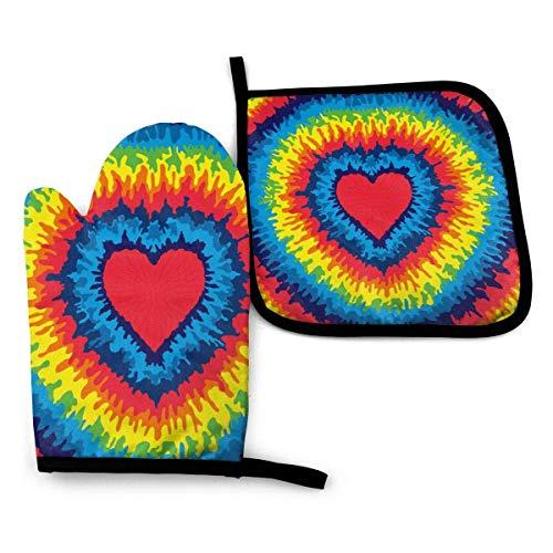 Foruidea Tie Dye Love - Juego de manoplas y soportes para ollas de arcoíris de colores para horno, guantes de cocina resistentes al calor para cocinar en barbacoa, hornear, asar a la parrilla, lavable