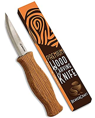 """BeaverCraft Sloyd Knife C4 3.14"""" Wood Carving Sloyd Knife for Whittling and Roughing for Beginners and Profi - Durable High Carbon Steel - Spoon Carving Tools - Thin Wood Working (Whittling Knife)"""