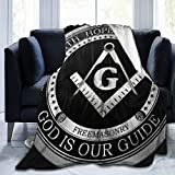 YongColer Soft Sherpa Flannel Fleece Throw Blanket Cloak for Bed Couch Sofa Chair Dorm, King Size Wearable Blanket (Masonic Faith Hope and Charity Freemason Logo Black, 50x60 Inch)
