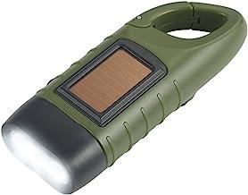 Simpeak Hand Cranking Solar Powered Flashlight, Rechargeable Emergency LED Flashlight Carabiner Dynamo Quick Snap Clip Bac...