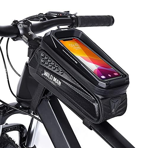 """CHICLEW Borsa Telaio Bici, Impermeabile Borsa Manubrio Bici con Touch Screen e Visiera Parasole, Borsa Bici Cellulare Grande Capacità, Porta Telefono Bici per iPhone Samsung Smart Phone 6,7"""""""