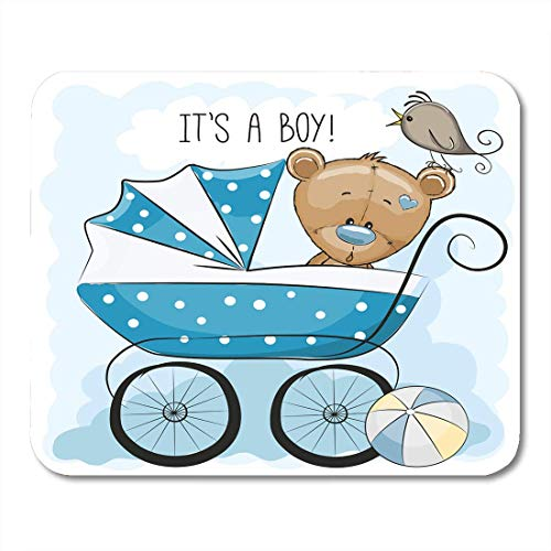 AOHOT Mauspads Toy Its Boy Baby Carriage and Teddy Bear Animated Babies Ball Bird Mouse pad 9.5