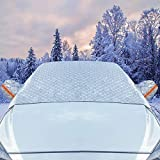 UPFOX Car Windshield Snow Cover 2 Layers Frost Guard Ice Cover Protector Winter Waterproof for Most Cars All Weather Blocks UV Rays Dust Particle