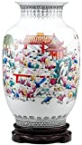 XIAOZHEN Florero Escritorio Jarrón de cerámica Hecha a Mano Manualidades con Base giratoria centenar de niños Figura Oficina for el Hogar (32,5 * 20 cm)