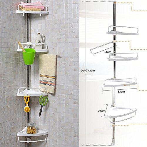 FunkyBuysMETAL Telescopic 4 Tier Adjustable 90-270cm (SI-080) Bathroom Organiser Caddy Shelf New by FunkyBuys