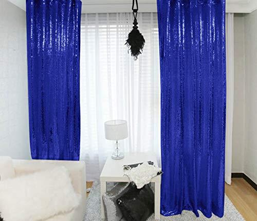 Sequin Curtains 2 Panels 2FTx8FT Royal Blue Glitter Backdrop Royal Blue Sequin Photo Backdrop Backdrop Curtains M1120
