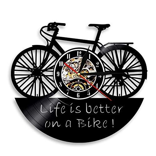 Gtllje El Reloj de Pared de Bicicleta 3D es más Hermoso en la Bicicleta Reloj Art Deco Reloj de Tiempo de Registro de Vinilo Retro Decoración de Pared de jardín de Infantes 30x30cm