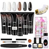 Qisen 15ml Kit Gel de Extensión de Uñas, Kit Uñas de Gel, UV Gel Para Uñas Kit, 6 Color UV Gel para Pintauñas Esmalte, 100 Piezas Uña Falsa, con Capa superior y Capa base