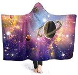 Coperta con cappuccio Tenere al caldo Adulti Bambini Sistema stellare planetario Sherpa Fleece Indossabile Coperta invernale Coperte in microfibra 50x40 inch