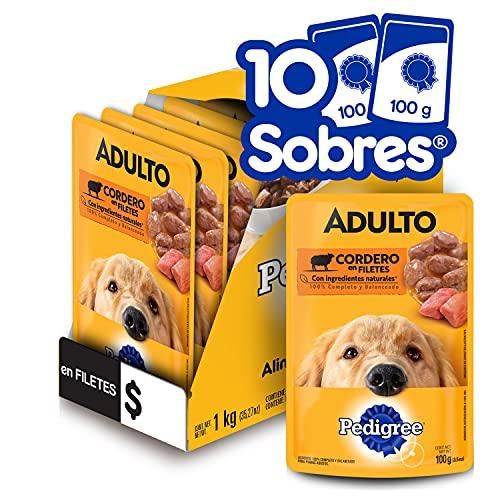 PEDIGREE alimento húmedo para perros adultos. Sabor: Cordero en Filetes. Contiene 10 sobres