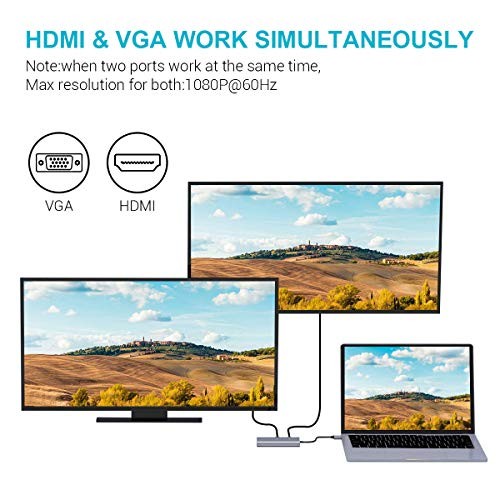 USB C HDMI Adapter 7 in 1 USB C Hub Type C to 4K RJ45 VGA 2 * USB 3.0 Power Delivery Audio Samsung Dex Station for Samsung S8 / S8 + / S9 / Note8 Compatible with MacBook Pro (Thunderbolt 3)