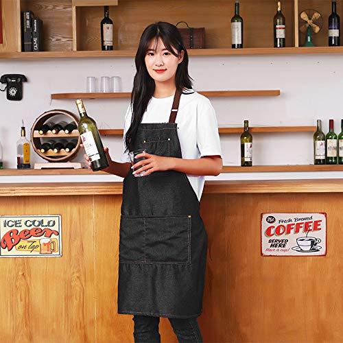 BURAK BULBUL Denim Apron Nordic Style Halter Blue Denim Fashion Cafe Korean Adult Workwear