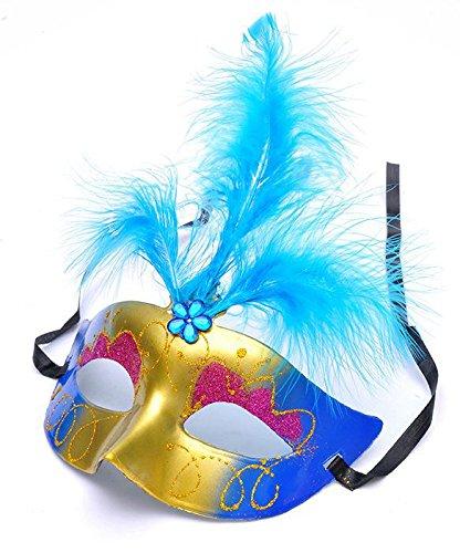 Dayan Masque vénitien Yeux Fancy Dress Accessoire Fluff Feather Diamant Dentelle pour Les Masques Billes Parti Couleur aléatoire