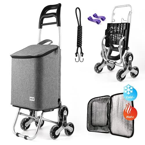 EZGETOP Einkaufstrolley Treppensteiger mit Kühlfach, Einkaufswagen kaufstrolleyn Klappbar mit 3 Räder, Einkaufshilfe mit Klappbar bis 35kg belastbar