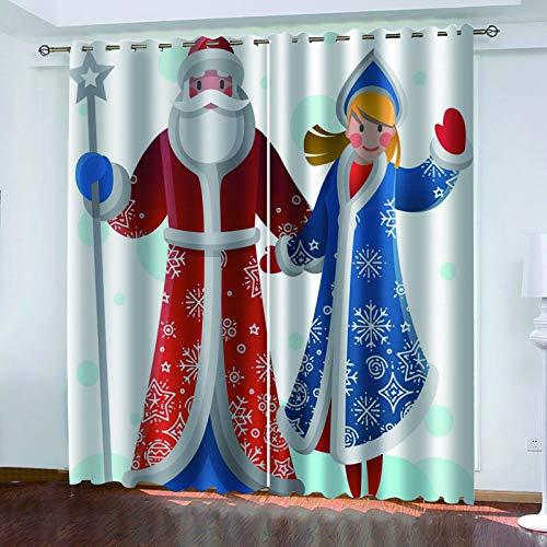 MMHJS 3D Santa Claus Bedruckte Vorhänge, Schlafzimmer Und Wohnzimmer Balkon Sonnenschutz Vorhänge, Haushaltsgegenstände, Wanddekoration (2 Stück)