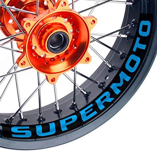 KETABAO Supermoto Wheels 17' Inner Rim Stickers Decals Compatible with KX80 KX85 KLX250W KLX300M 20 21 (Aqua Blue)
