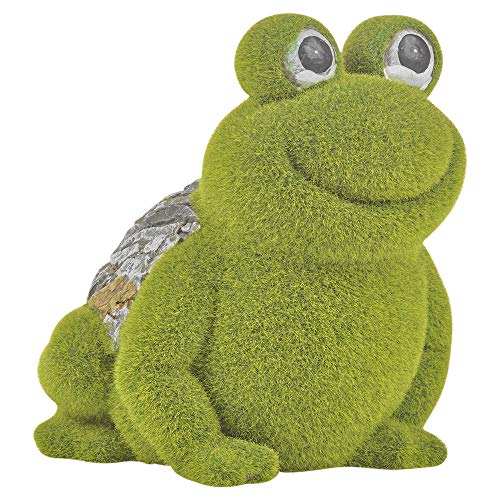 URBNLIVING Large Flock Grass & Stone Detailed Cute Garden Patio Ornament Outdoor Decoration (Frog)