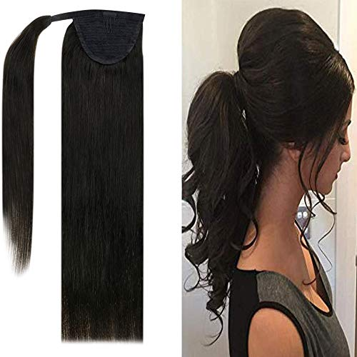 """Easyouth 12"""" Wrap Around Ponytail Extension with Clip 100% Real Human Hair Silky Straight Extension Color 1B Off Black One Piece Clip in Ponytail Drawstring Extensions 70 Gram"""