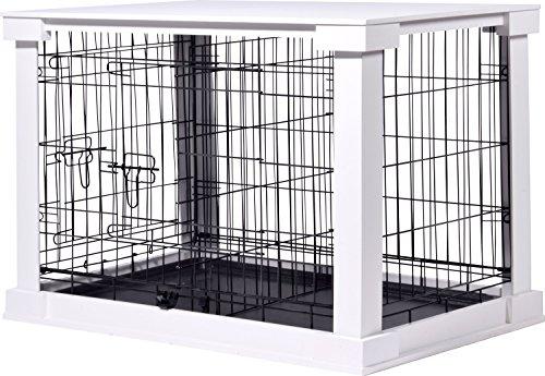 dobar 35241 - Jaula Grande de Madera para Perros con Superficie de Mesa para Interior, tamaño M, Color Blanco