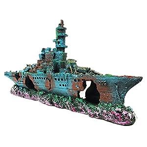 SLOCME Aquarium Shipwreck Decorations Fish Tank Ornaments – Resin Material Sunken Ship Decorations, Eco-Friendly for Freshwater Saltwater Aquarium Betta FIsh Decorations
