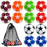 Coopay 12 Pieces 32mm Foosball Balls Table Football Soccer Replacement Balls Multicolor Official Tabletop Game Balls with a Black Drawstring Bag (Multicolour Star)