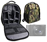 DURAGADGET Mochila Camuflaje con Compartimentos Desmontables para Cámara Panasonic Lumix DMC-FZ2500 / DMC-G80 / DMC-G85 / DMC-LX10 / DMC-LX15 / FZ2000 + Funda Impermeable