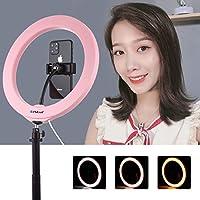 三脚付きLEDリングライト10 Cheruisi 10インチ26cm USB 3モード調光可能LEDリングブログコールドシュー三脚ボールヘッドと電話クランプ付きSelfie写真ビデオライト (Color : Pink)