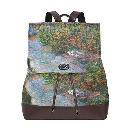 Mochila para mujer Claude Monet Lilacs Jardín PU Cuero Señoras Niñas Mochila Hombro Viaje Escuela Bolsas