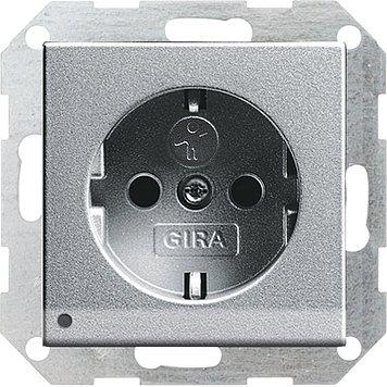 Gira 117026 Schuko-Steckdose alu LED-Beleuchtung System55 m.Kinderschutz