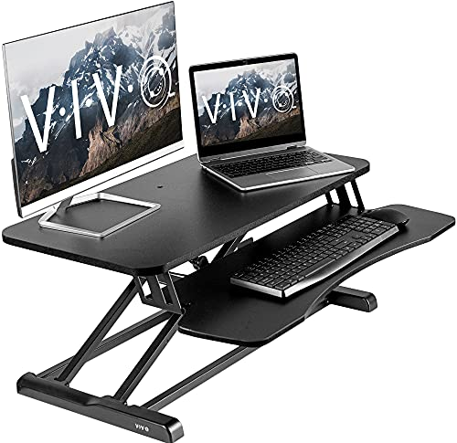 VIVO Standing 32 inch Desk Converter, Height Adjustable Riser, Sit to Stand Dual Monitor and Laptop Workstation with Wide Keyboard Tray, Black, DESK-V000K