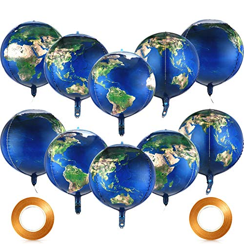 10 Pieces Earth Globe Balloons Sphere World Map Foil Balloons Planet Mylar Globe Balloons and 2 Rolls Gold Balloon Ribbons for Birthday Space Theme Party Earth Day Decorations Gift Teaching Supplies