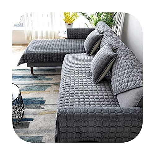Tjockt plysch sofföverdrag europeisk universell soffhandduk överdrag halkfri soffskydd soffhandduk för vardagsrum dekor-grå-90 x 210 cm 1 st