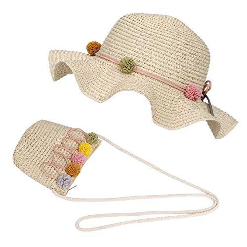 FT-SHOP Chapeau de Soleil Filles Chapeaux de Paille d'été Enfant et Petit Sac Ensemble avec Décoration Florale pour Plage Voyage Randonée 3-7 Ans