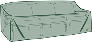 Plow & Hearth Heavy Duty Weather Resistant Outdoor Classic Deep Seat Sofa Cover, PVC Backed Polyester, 85 L x 36 D x 37.5 H Back, 27.25 H Front - Green