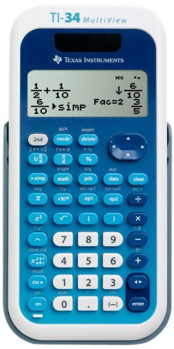 Texas Instruments MultiView TI-34 Scientific Calculator - 4 Line(s) - 16 Character(s) - LCD - Solar, Battery Powered 34MV/TBL/1L1/A